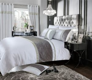 GREY SILVER COLOUR STYLISH VELVET DIAMANTE DUVET COVER LUXURY BEAUTIFUL BEDDING